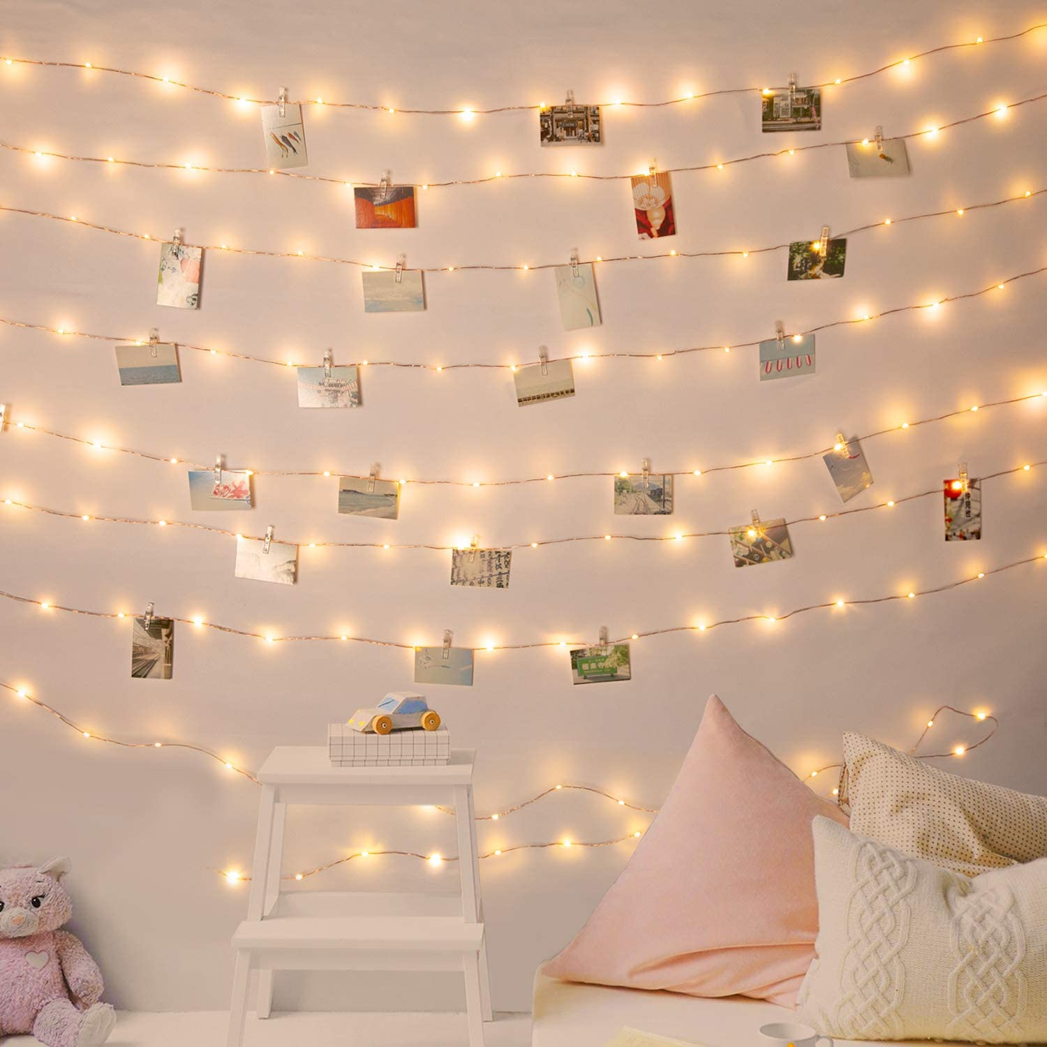 Photo Clips String Lights 33 Feet 100 LEDs Fairy String Lights Battery Operated with 60 Clear Clips for Hanging Pictures with Timer and 8 Lighting Modes for Bedroom Wall Decoration (Warm White)