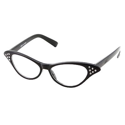 50's Kids Nerd Cat Eye Glasses Girls Costume Children's (Age 3-12) (Black): Clothing