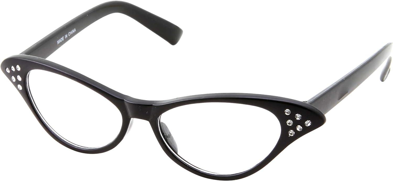 50's Kids Nerd Cat Eye Glasses Girls Costume Children's (Age 3-12) (Black)