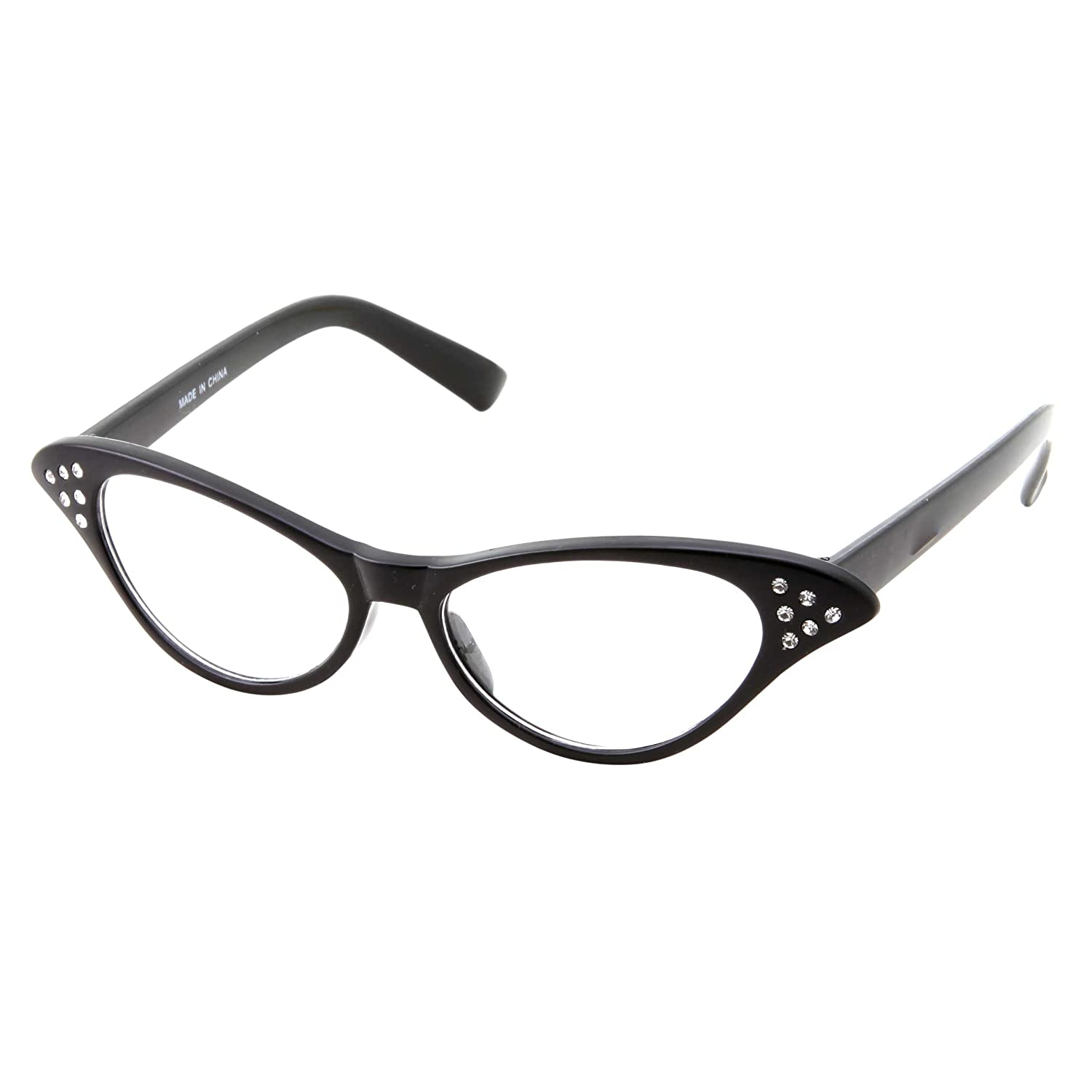 28ebf4b750c Amazon.com  50 s Kids Nerd Cat Eye Glasses Girls Costume Children s (Age  3-12) (Black)  Clothing