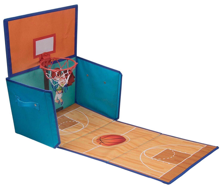 Organizador para juguetes plegable Con forma de cancha de baloncesto con canasta