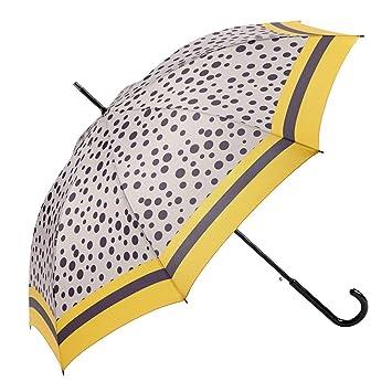 EZPELETA Paraguas Largo de Mujer. Automático y antiviento. Estampado Lunares - Beige: Amazon.es: Equipaje