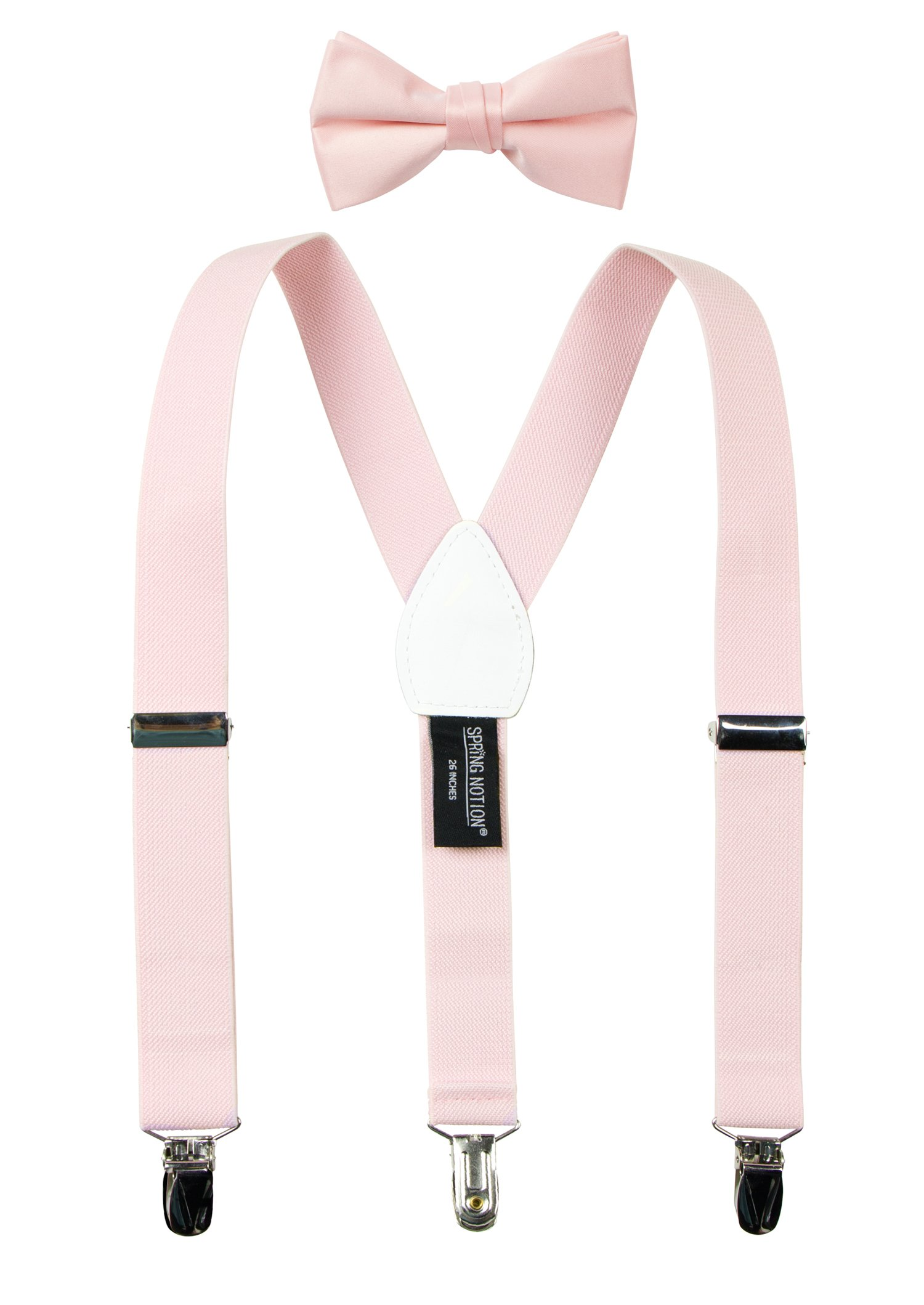 Spring Notion Boys' Suspenders and Solid Color Bowtie Set Blush Pink Medium
