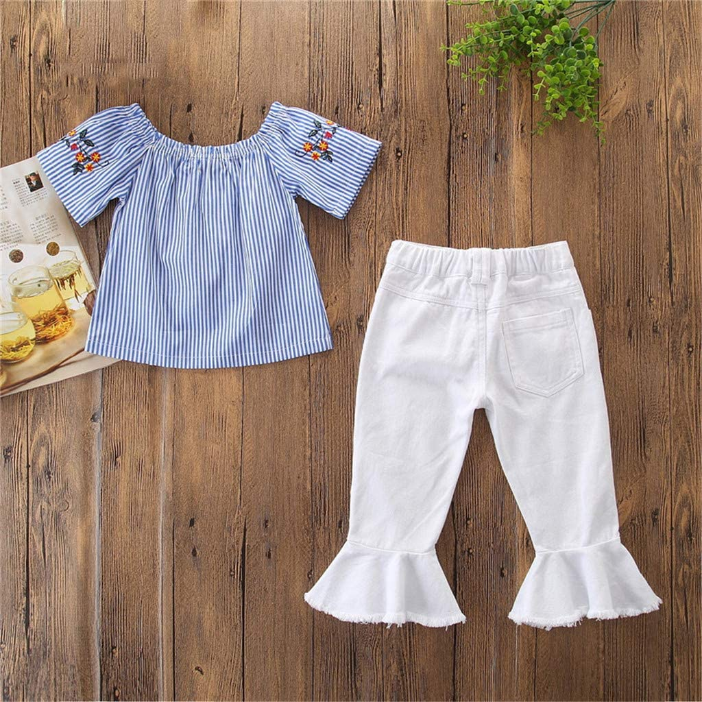 Toddler Girls Embroidery Playsuits,Suma-ma Baby Girls Summer Off Shoulder Tops Shirts Denim Pants Outfit Sets