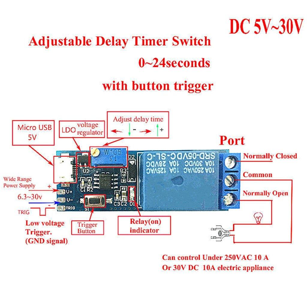 Segolike Wide Voltage 5v 30v Trigger Power Delay Relay Module Timer Control Home Kitchen