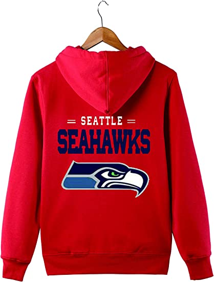 JJCat Mens Hooded Long Sleeve Letters Print Seattle Seahawks Football Team Solid Color Zipper Hoodies