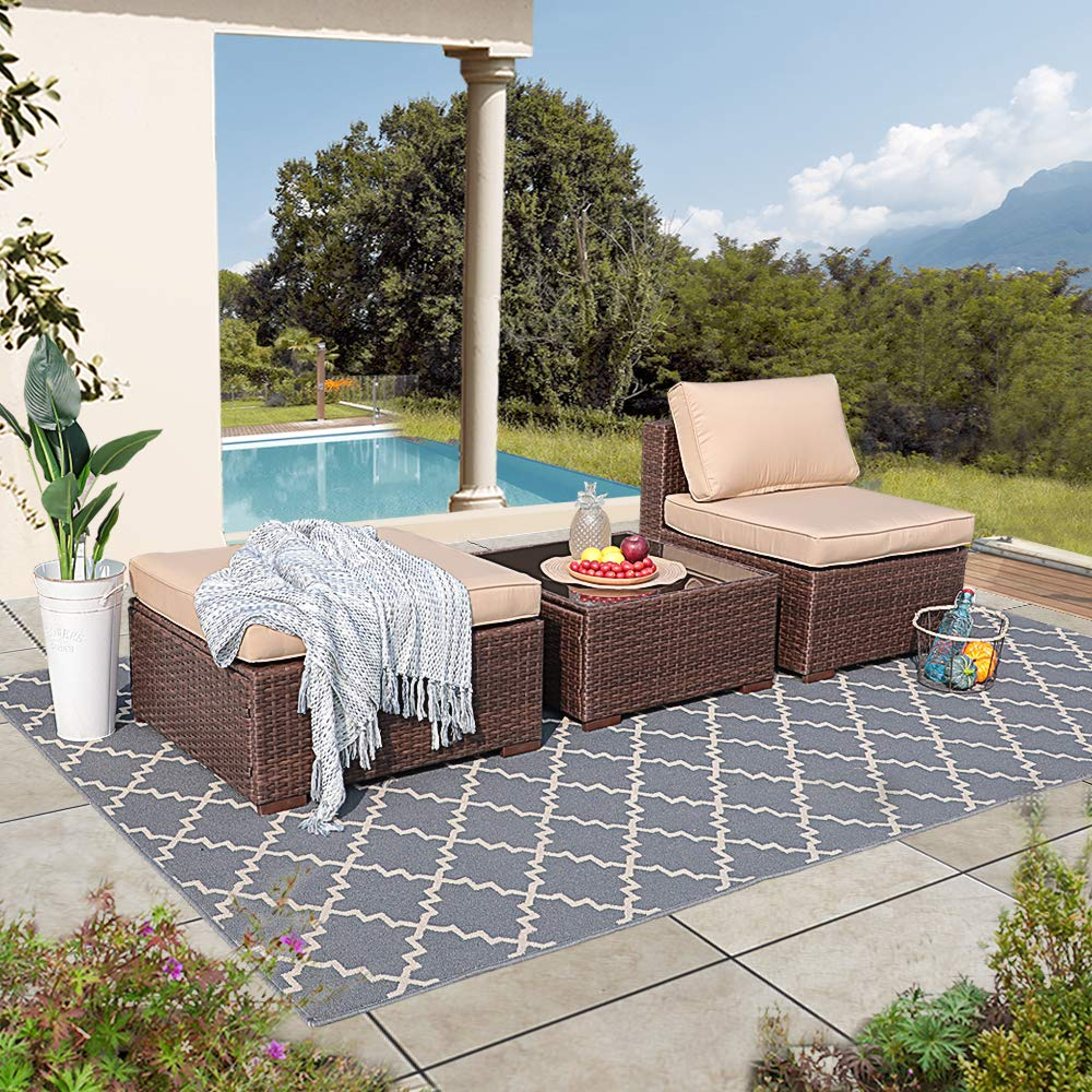 Patiorama Outdoor Furniture Sectional Sofa Set (5-Piece Set) All-Weather Brown PE Wicker with Beige Seat Cushions &Glass Coffee Table| Patio, Backyard, Pool| Steel Frame by Patiorama (Image #8)