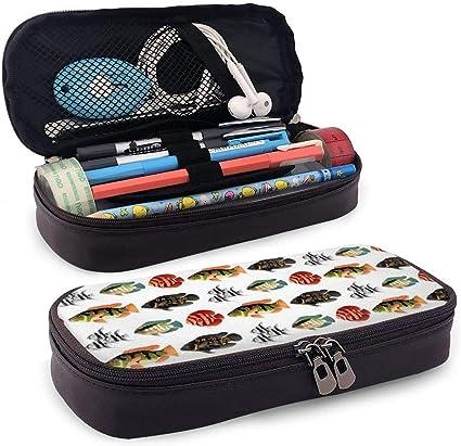 Estuche Lápices Tropical Amazon Cichlids Pencil Case Pen Case Pencil Pouch Stationery Organizer Multifunction Cosmetic Makeup Bag Double Zipper Leather: Amazon.es: Oficina y papelería