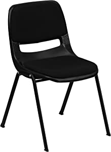 Flash Furniture HERCULES Series 880 lb. Capacity Black Padded Ergonomic Shell Stack Chair with Black Frame