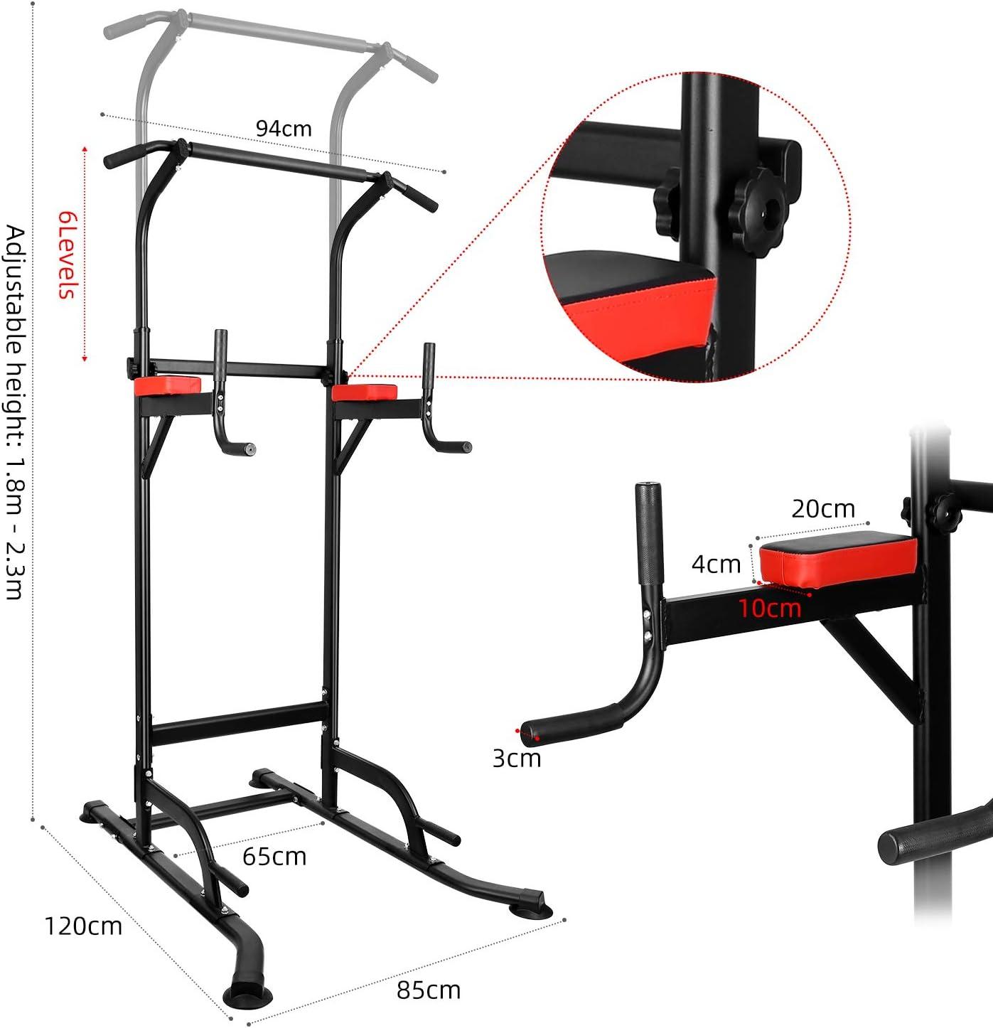 Pull-ups INTEY Chaise Romaine Dos et Triceps Gym Familiale Tour de Musculation Multifonctions Power Tower Entra/îneur pour Abdominaux Stabilit/é
