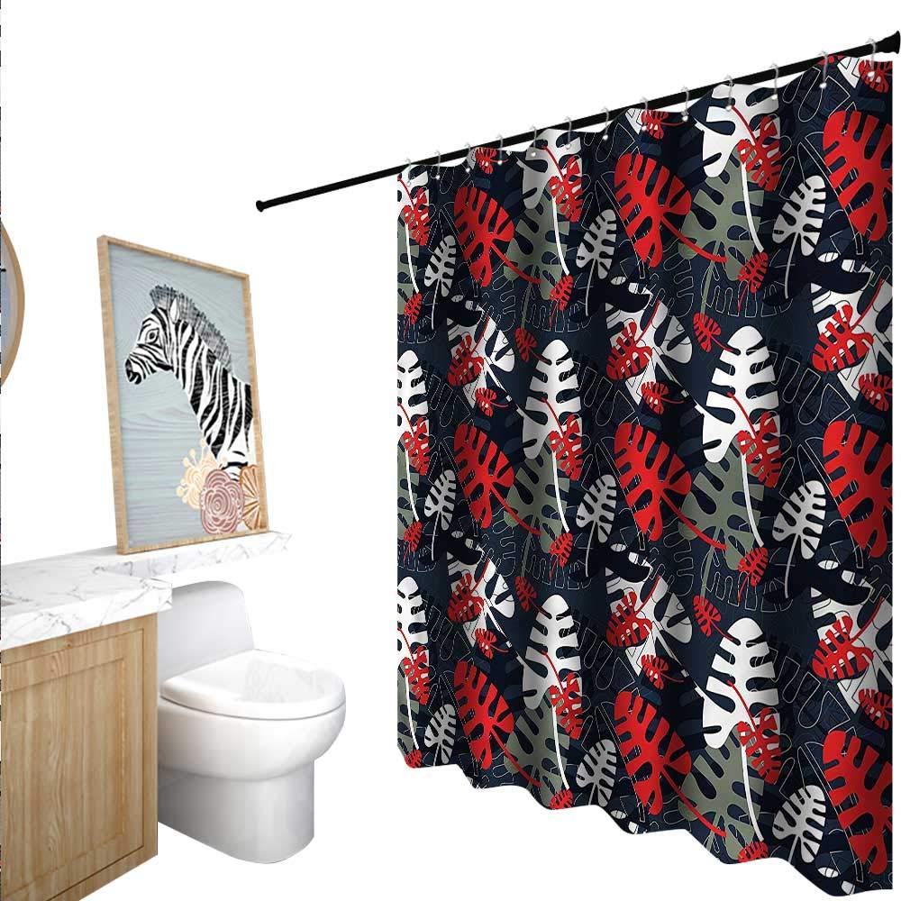 BlountDecor トロピカルシャワーカーテン 防カビ エキゾチックなユリの花 55x72インチ バスルームに最適 72