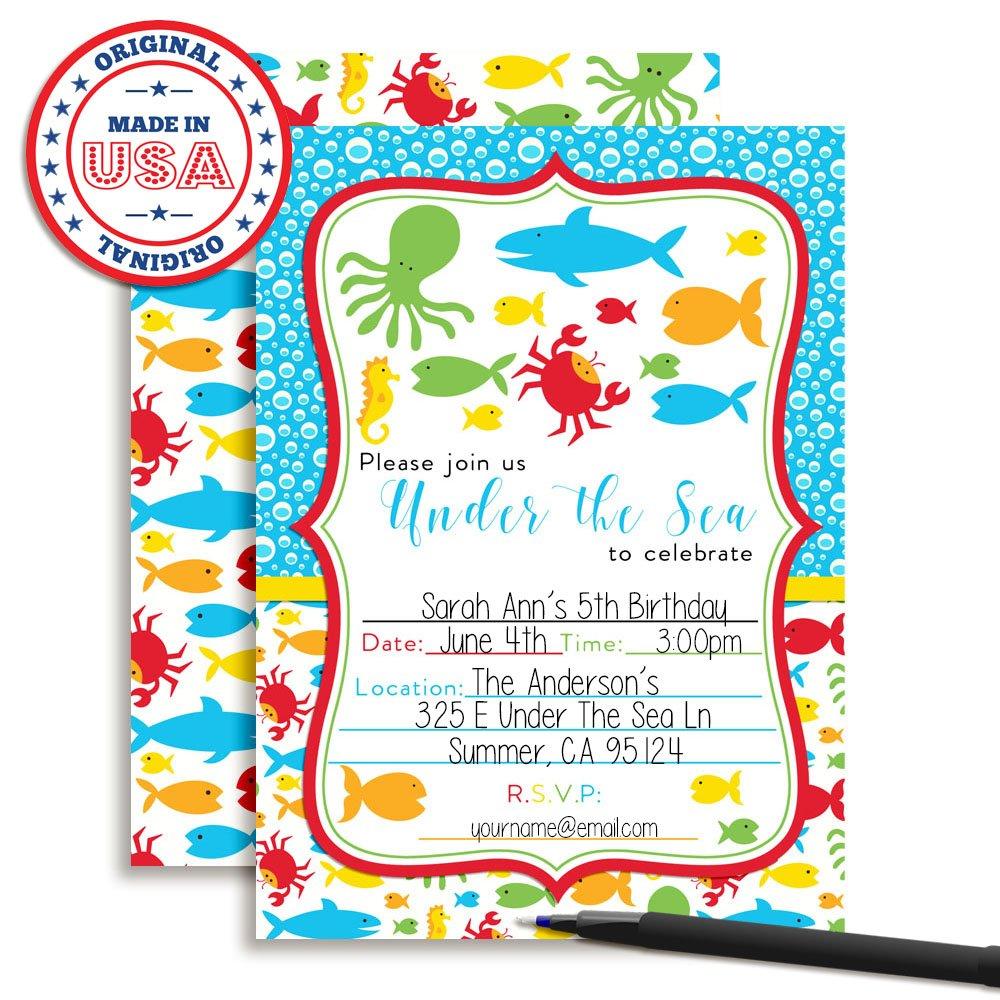 Amazon.com: Under the Sea Birthday Party Fill in Invitations Set of ...