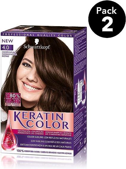 Keratin Color de Schwarzkopf - Tono 4.0 Castaño natural - 2 uds - Coloración permanente