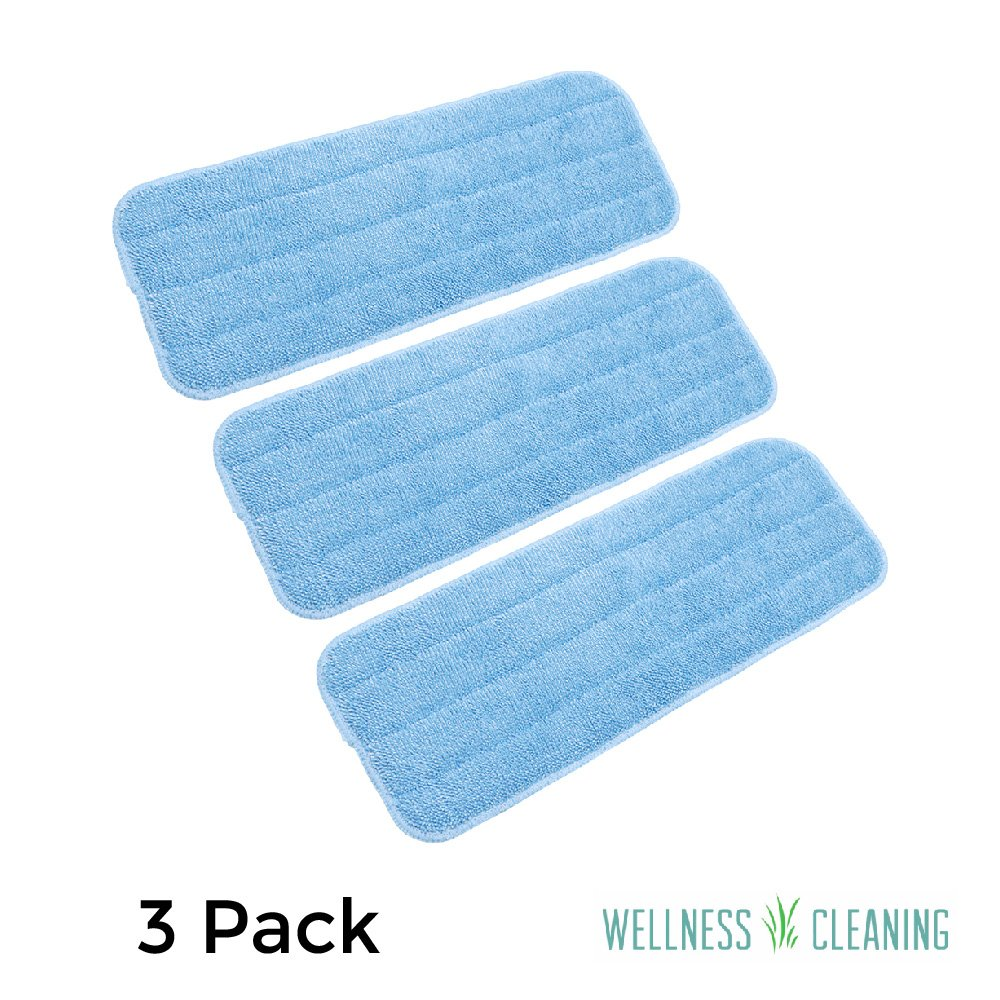 Microfiber Mop Pads 3 Pack - Reusable Replacement Heads - Large Commercial Quality Dust Mop Refill - Used by Professional Cleaners - Antimicrobial - Suitable for Dry and Wet Mopping by Wellness Cleaning Supply
