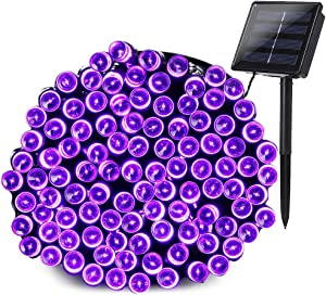 Joomer Solar Christmas Lights 72ft 200 LED 8 Modes Solar String Lights Waterproof Solar Fairy Lights for Garden, Patio, Fence, Balcony, Outdoors (Purple)