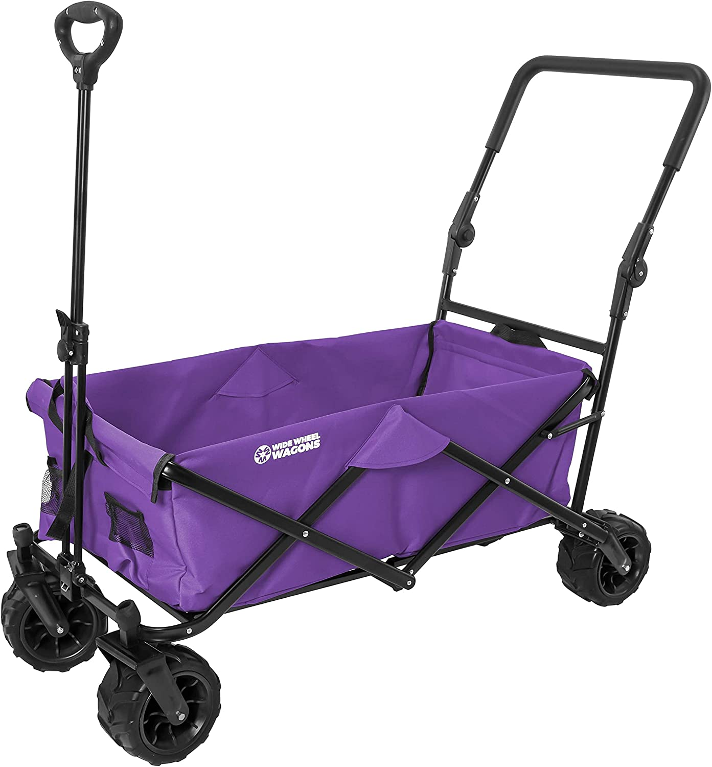 Purple Wide Wheel Wagon All-Terrain Folding Collapsible Utility Wagon with Push Bar - Portable Rolling Heavy Duty 150 Lbs Capacity Canvas Fabric Cart Buggy - Beach, Garden, Sporting Events, Park