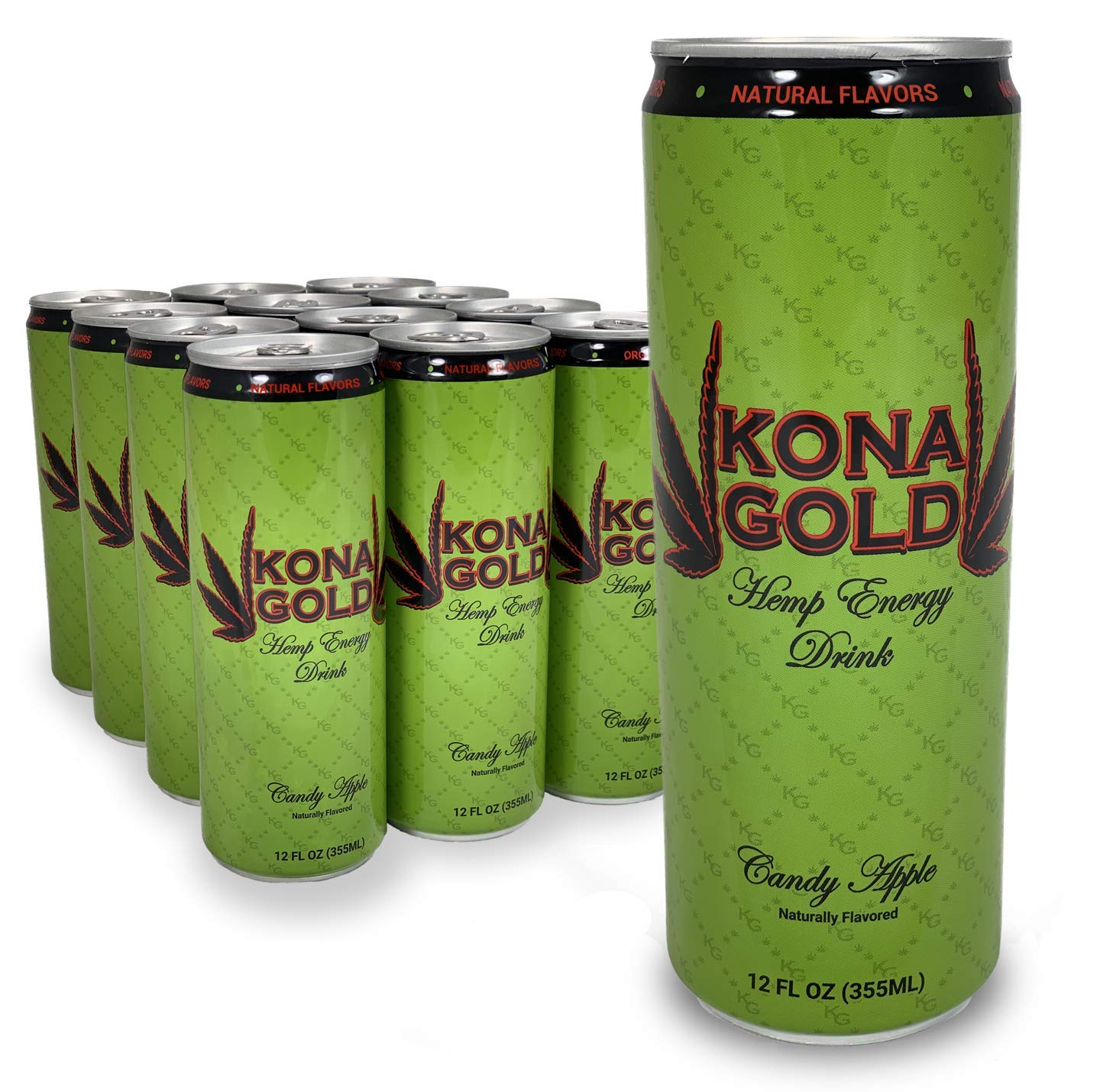 Kona Gold Candy Apple Hemp Energy Drink 12.0 Fluid Ounces, 12 Pack, Zero Calories, Zero Sugar, Natural Flavors, Organic Hemp