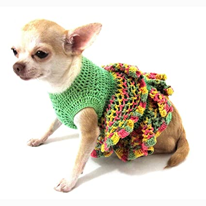 98b497296120 Crochet Ruffle Dog Dress Beautiful Girl Pet Clothing Cotton Puppy Clothes  Chihuahua Dresses Handmade Unique Dk890