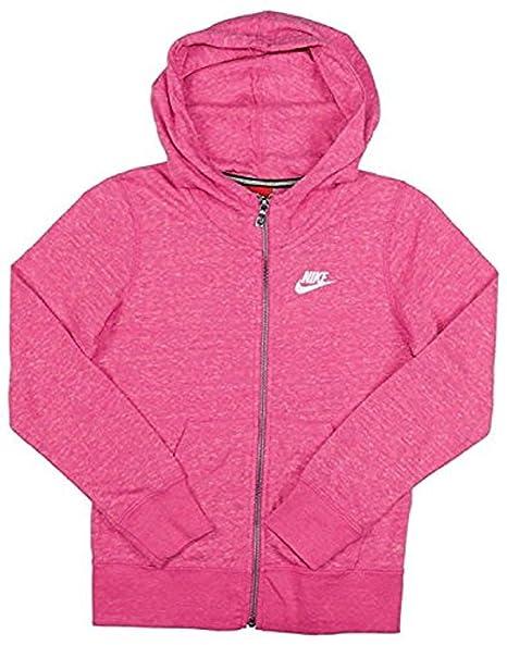 cf5dfab42414c Amazon.com: Nike Big Girls' Gym Vintage Full Zip Hoodie-Heather Pink ...