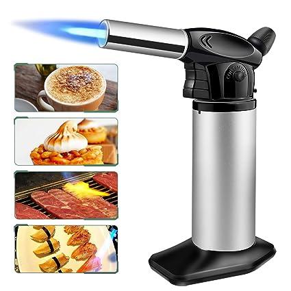 SUMGOTT Antorcha de Cocina Soplete de Cocina con Bloqueo de Seguridad Temperatura y Llama Ajustables para