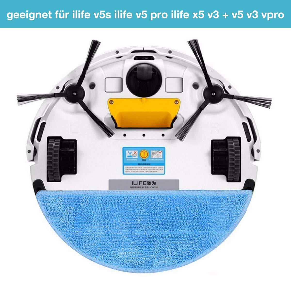 Charminer Premium Accesorios adecuado para Robot aspirador ILIFE limpieza del hogar Robot, 10 cepillos laterales + 5 esponjas + 5 telas filtrantes + 4 ...
