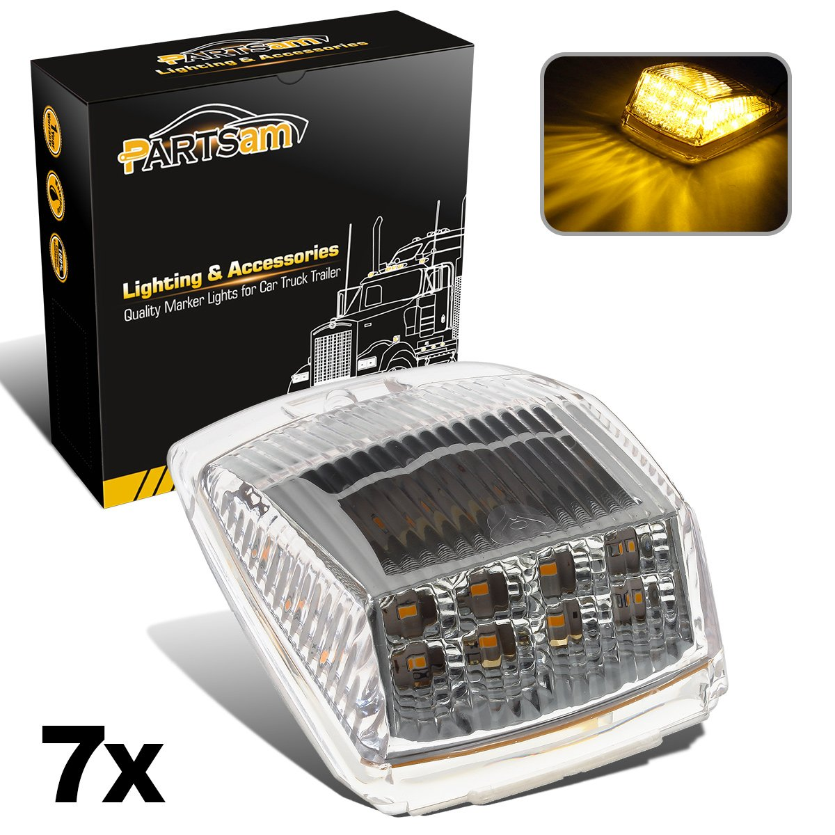 Partsam 7X Clear/Amber 17LED Cab Roof Running Top LED Cab Marker Reflector Lights Replacement Lens Compatible with Kenworth/Peterbilt/Freightliner/Mack Truck Trailer by Partsam