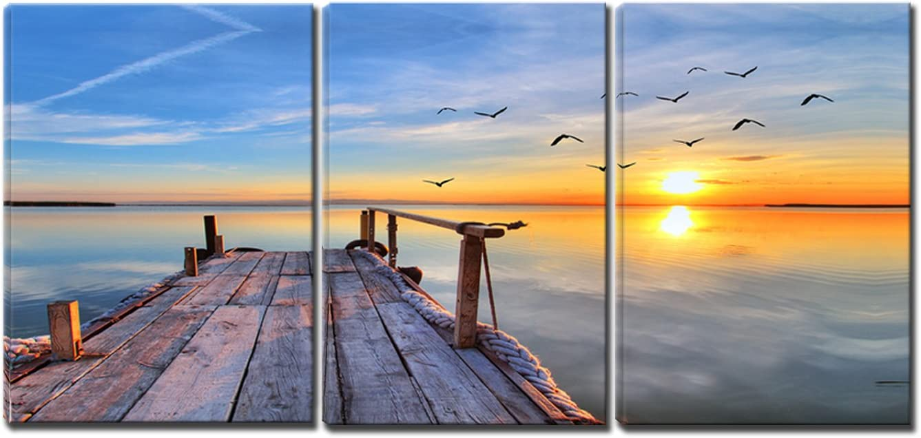 3 Panels Stretched and Framed Sunset Wall Art,Birds Flying and Boardwalk Seascape Painting on Canvas, Ready to Hang for Living Room Bedroom Office 30cmX40cmX3panels