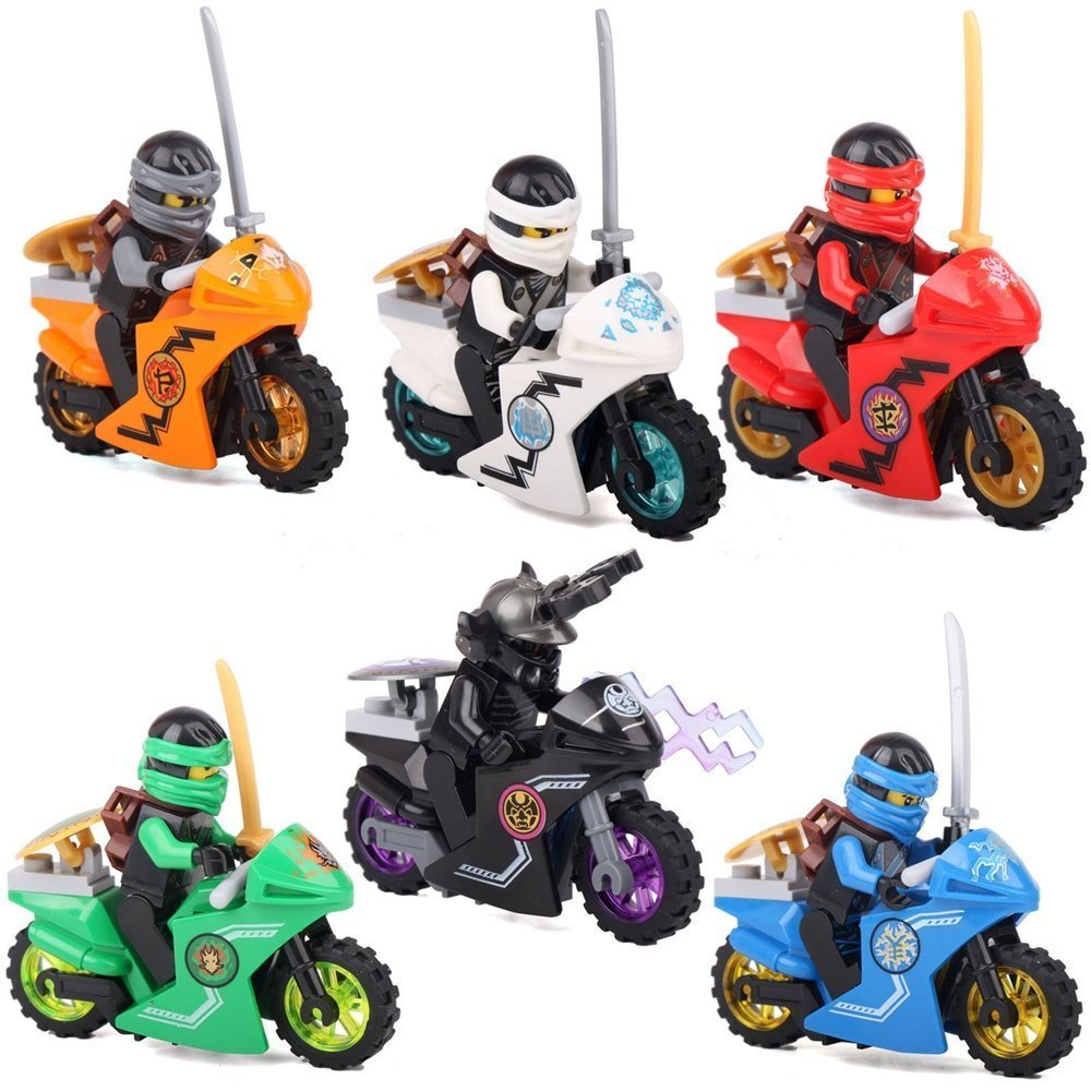 New Cool Adventure MiniToys for Children Ninjago Series Cole Jay Kai Lloyd Zane and Lord Carmadon with Motorcycles Play Set Minifigures Building Brick Blocks Toy, 6Pcs/Set ABS Plastic Multi-color Sbolang