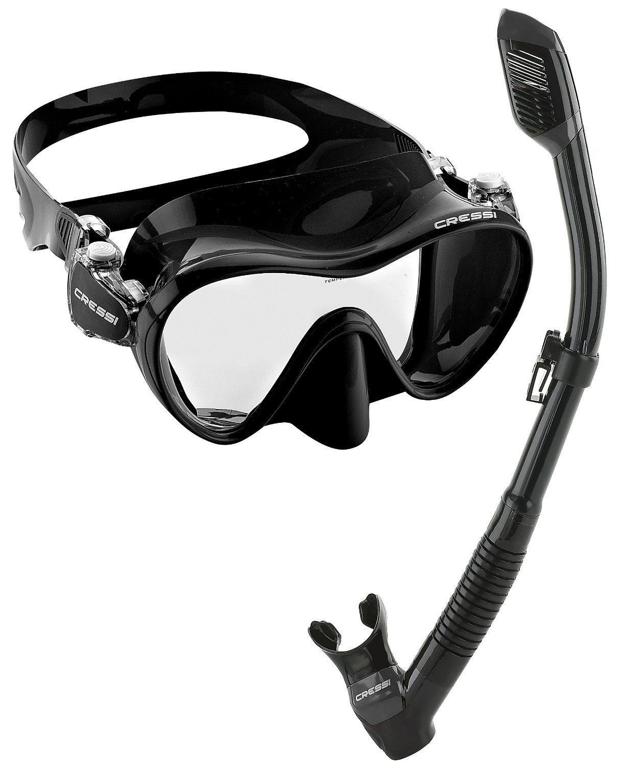 Cressi Scuba Diving Snorkeling Freediving Mask Snorkel Set, All Black by Cressi