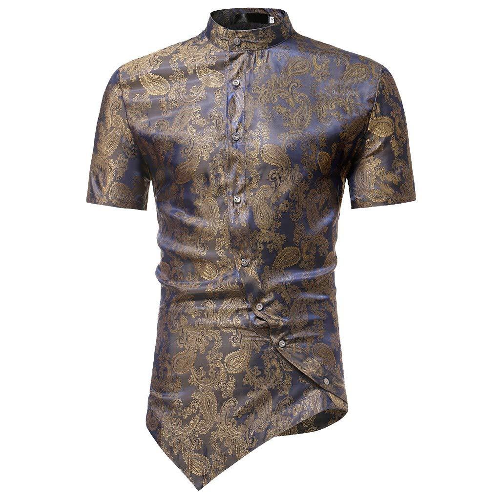 be0c4865e Kalinyer Mens Grandad Collar Dress Shirts Slim Fit Short Sleeve Irregular  Hem Formal Button Down Shirts Tuxedo Shirts at Amazon Men's Clothing store: