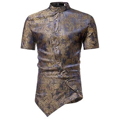 8faf1a4795e4 MODOQO Men s Short Sleeve Button Down Shirt Irregular Hem Casual Print Summer  T-Shirt(