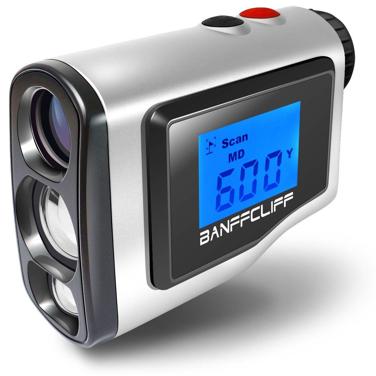 BanffCliff 1.8'' LCD Screen Display Golf Rangefinder, 656Yard/ 600M Laser Range Finder with Golf Flagpole Lock Fog Mode Distance Correction Water Resistant Laser Distance Measure w/ Carry Case Battery by BanffCliff