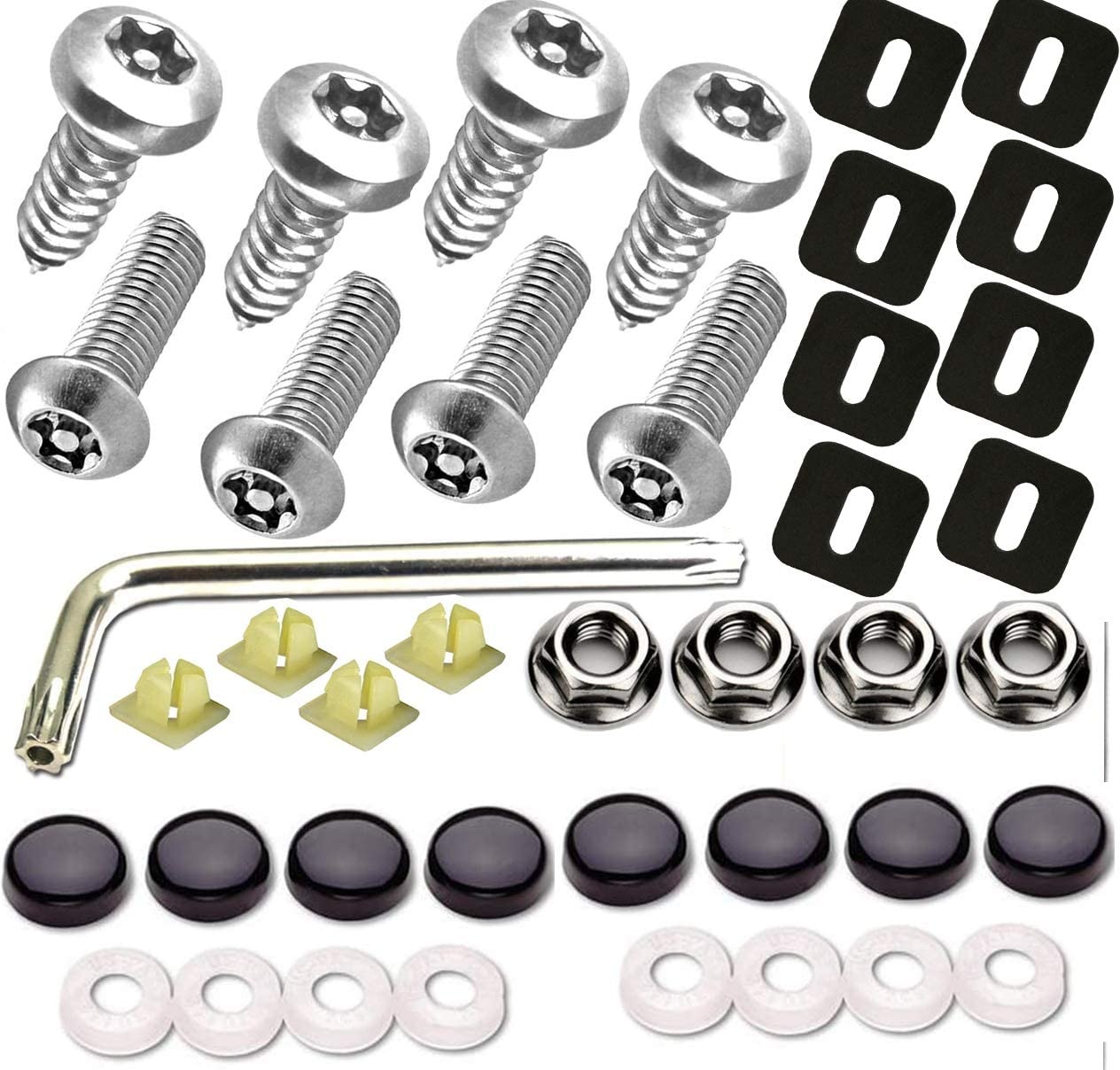 Self-Tapping Fastener Kit Give Tamper-Resistant Mirror Polished White Chrome License Plate Screw Covers-License Tag Hardware Bolt Anti-Theft License Plate Screws-Stainless Steel Machine
