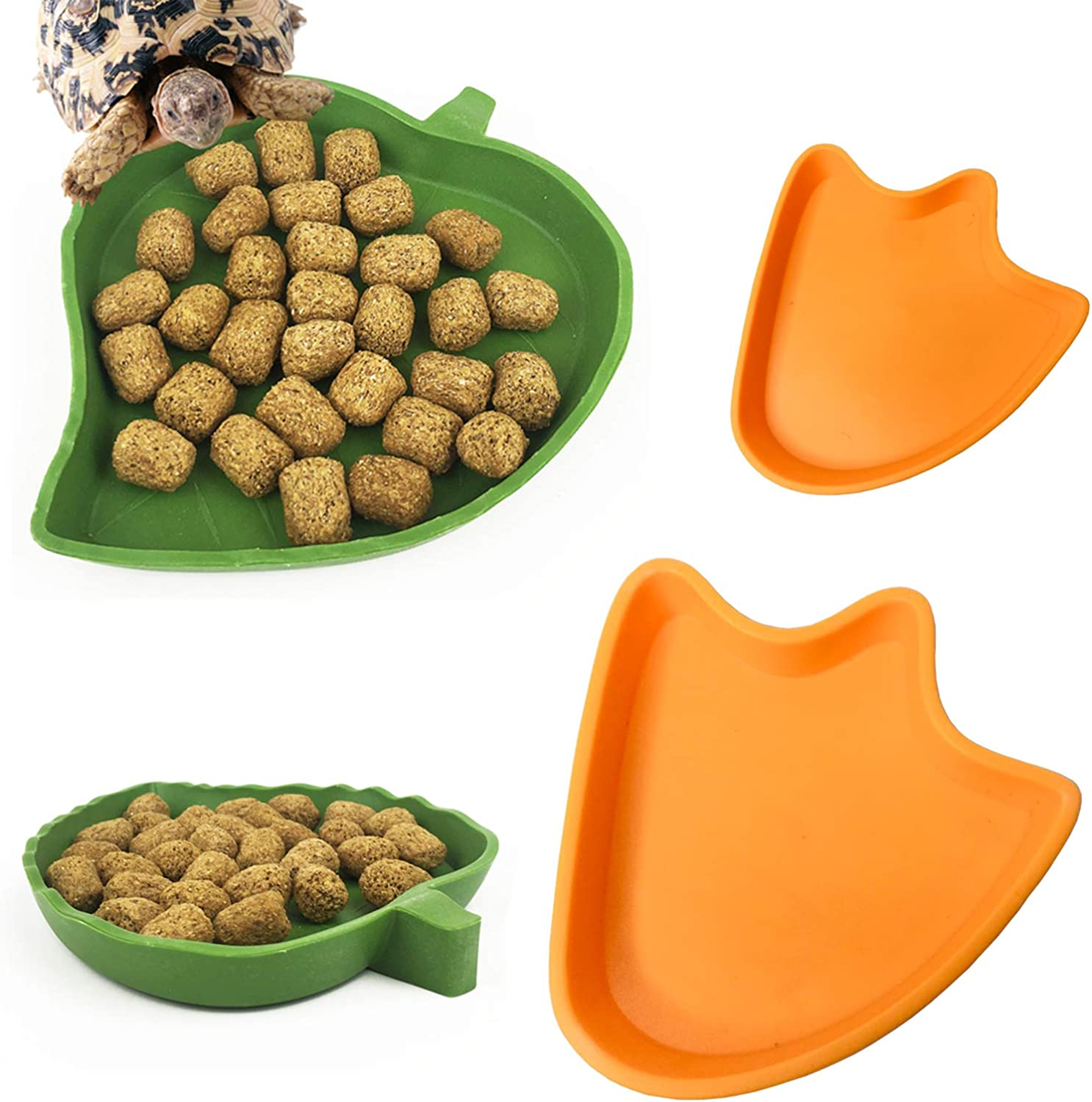 kathson Leaf Reptile Food Water Bowl Lizard Dish Plate Aquarium Ornament for Tortoises Snake Crawl and Other Small Reptiles Pets Drinking and Eating(4 Pack)