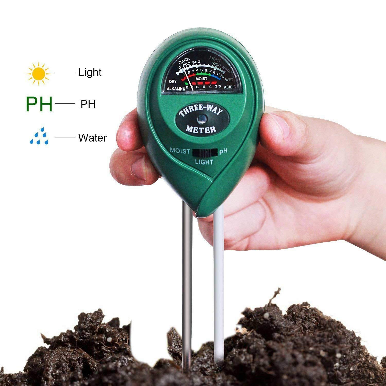 Dulcii Soil PH Meter Plant Care Meter, 3-in-1 Soil Moisture Meter with Light, PH & Acidity Meter Plant Soil Tester Kits for Gardening Farming(2 Pack)
