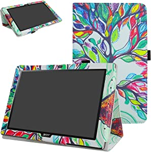 "Acer Iconia One 10 B3-A40 Case,Mama Mouth PU Leather Folio 2-Folding Stand Cover with Stylus Holder for 10.1"" Acer Iconia One 10 B3-A40 Android Tablet,Love Tree"