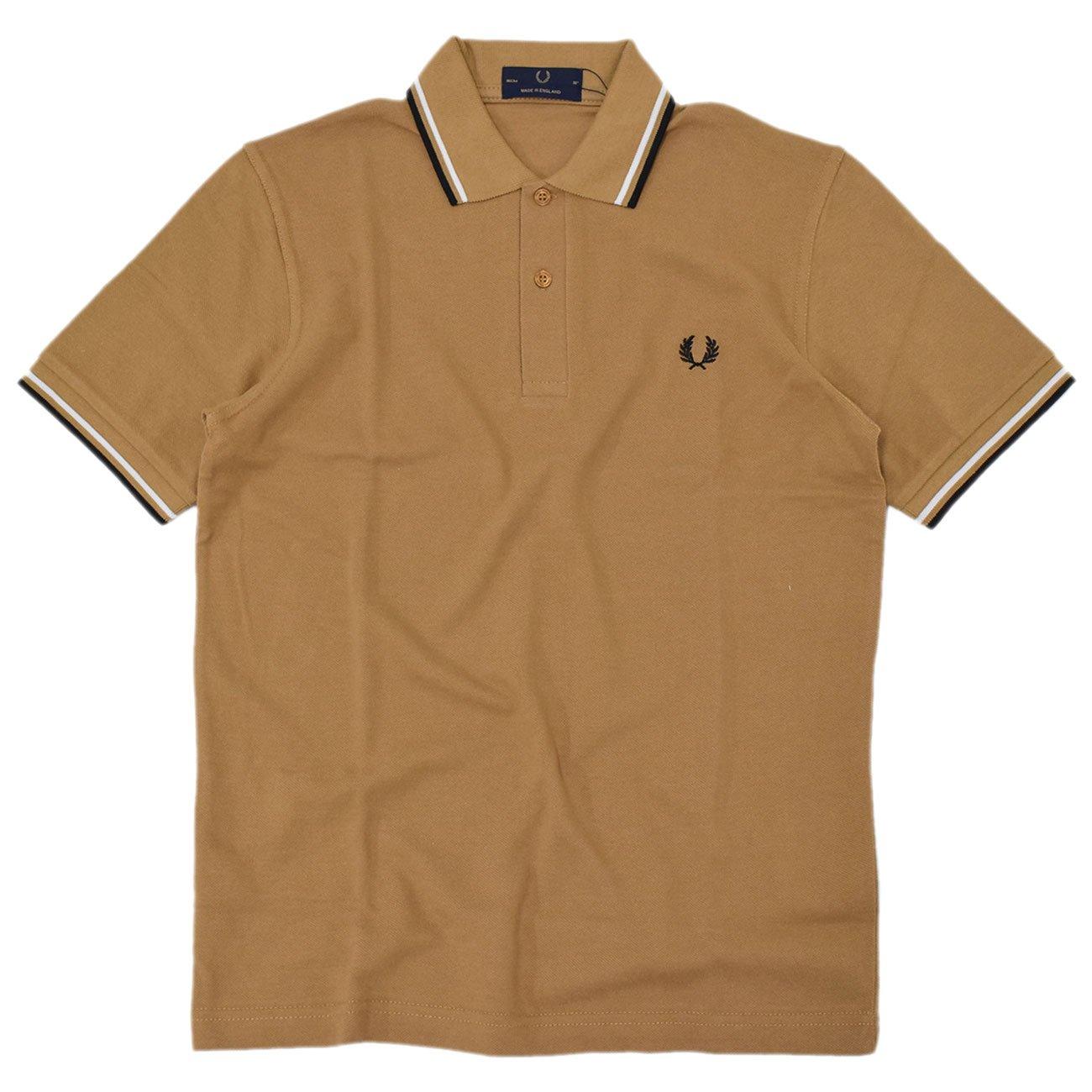 (フレッドペリー) FRED PERRY ポロシャツ 英国製 半袖 メンズ M12N イングランド ポロ B071YP8N43 40(日本L)|キャラメル/ブラック(D94) キャラメル/ブラック(D94) 40(日本L)