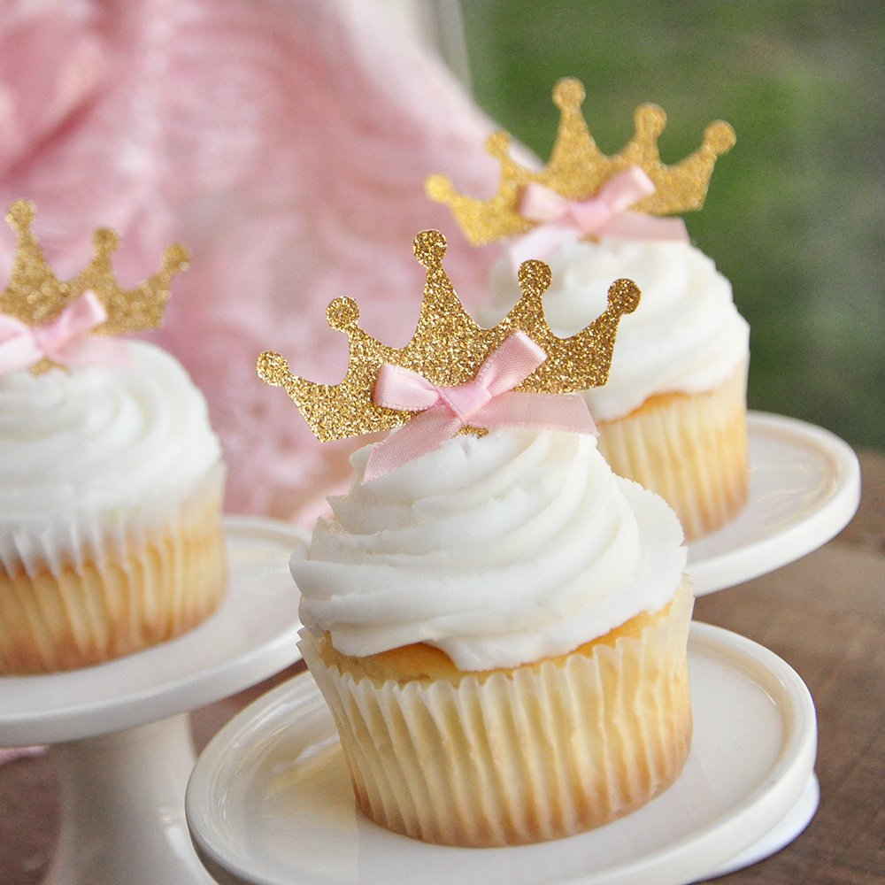 Tiara Cupcake Toppers 12CT. Pink and Gold Birthday Party Decorations.