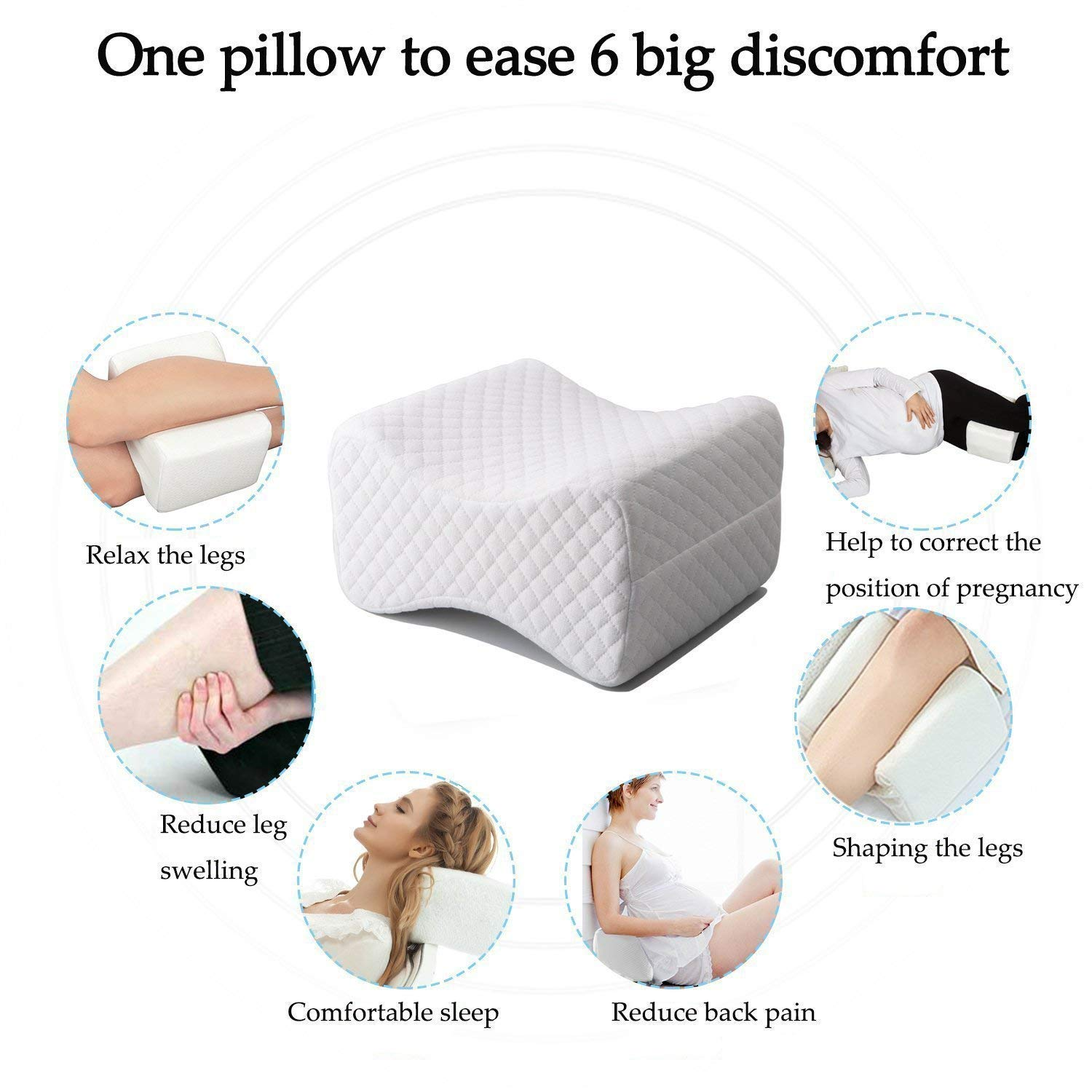 Orthopedic Knee Pillow for Sciatica Relief - Best for Lower Leg, Back, and Knee Pain- Memory Foam Wedge Contour Leg Pillow with Removable Cover
