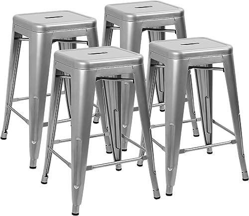 Devoko Metal Bar Stools 24 Indoor Outdoor Stackable Barstools Modern Style Industrial Vintage Counter Bar Stools Set of 4 Silver