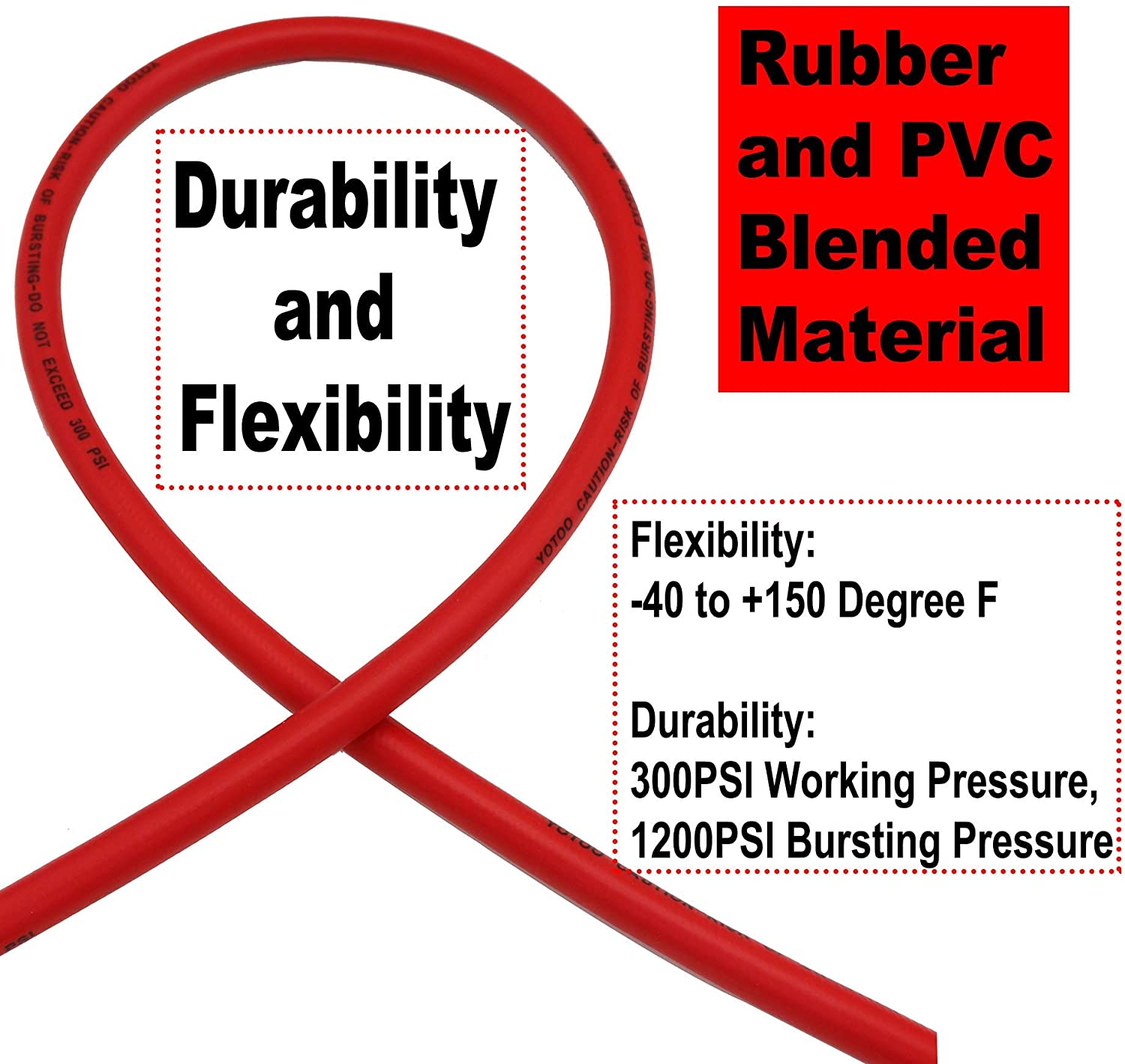 YOTOO Hybrid Air Hose 3/8-Inch by 50-Feet 300 PSI Heavy Duty, Lightweight, Kink Resistant, All-Weather Flexibility with 1/4-Inch Brass Male Fittings, Bend Restrictors, Red - -