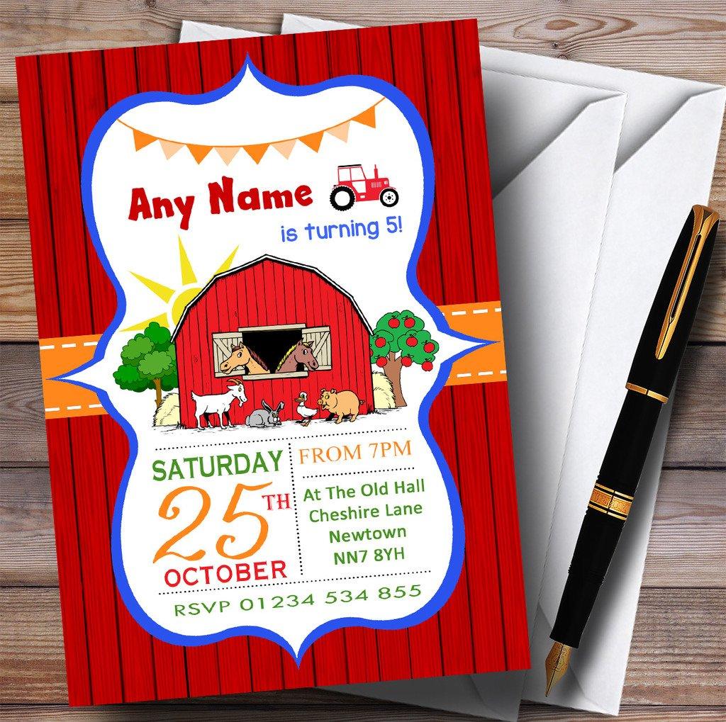 Red Orange & Blue Farm Animals Tractor Childrens Birthday Party Invitations