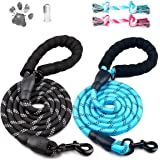 Dog Leashes,2 Pack Heavy Duty 5FT Dog Leash Chew Proof and Reflective Rope with Foam Handle for Large Dogs,Medium Dogs-Lnicho