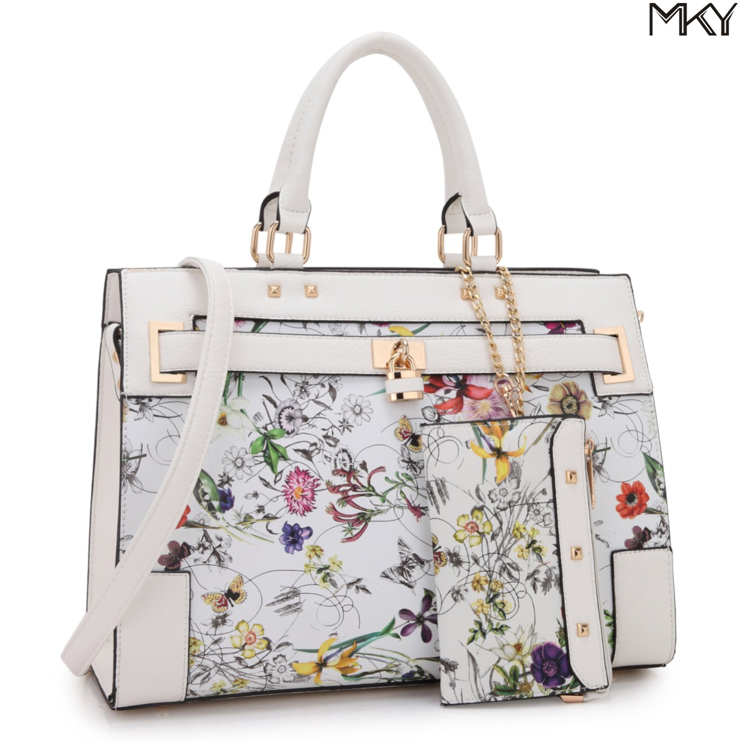 2 Tone Large Satchel Handbag Designer Top Handle Purse Fashion Shoulder Bag (With Zipper Purse-White Floral)