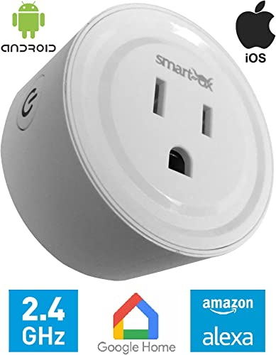 Smart Plug Works with Phone, Alexa, Google Home, Smart Ox Wifi Smart Socket, No Hub Required, Program Schedule and Timing, Control Your Devices from Anywhere,