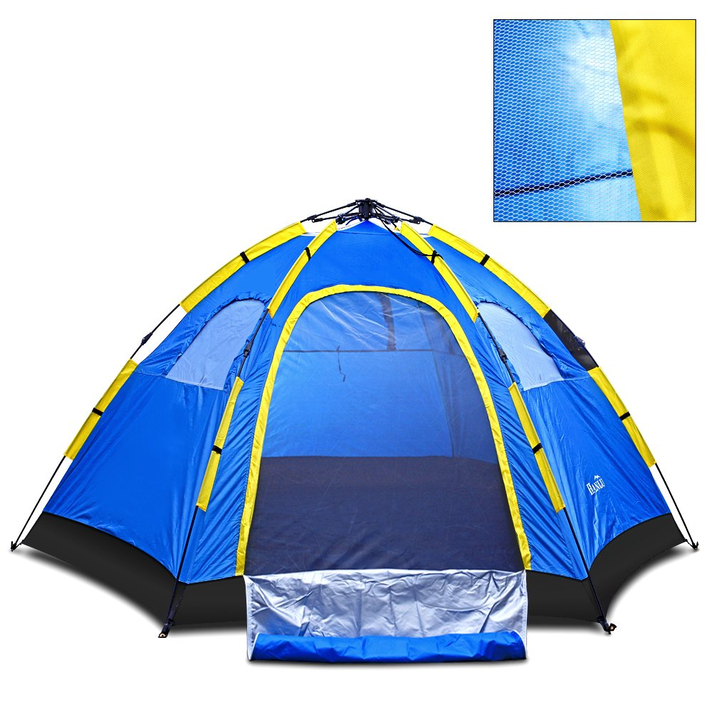 Amazon.com  Instant Family Tent - 4 Person Large Automatic Pop Up for Outdoor Sports C&ing Hiking Travel Beach with Zippered Door and Carrying Bag in ...  sc 1 st  Amazon.com & Amazon.com : Instant Family Tent - 4 Person Large Automatic Pop Up ...