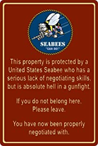 nobrand Property Protected by Seabee Sailor U.S. Navy Metal Tin Sign 8x12 Inch Home Kitchen Wall Decor