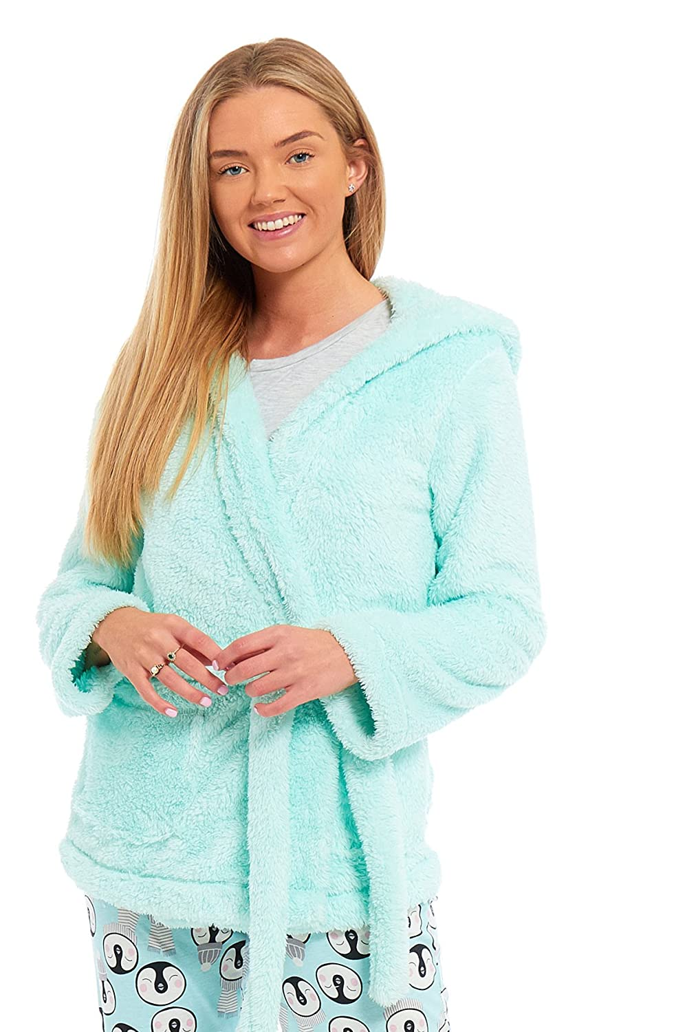 Ladies Womens Dressing Gown Marks and Spencer Fleece Snuggle Embossed Short Robe Size UK 8 10 12 14 16 18 20 22