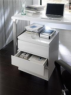 Schreibtischcontainer Rolli Ablage SYDNEY Container Rollcontainer Hochglanz Weiss