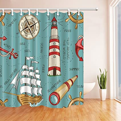 Rrfwq Nautical Decor Wooden Sailboat And Lighthouse Bath Curtain Polyester Fabric Waterproof Shower 708X70